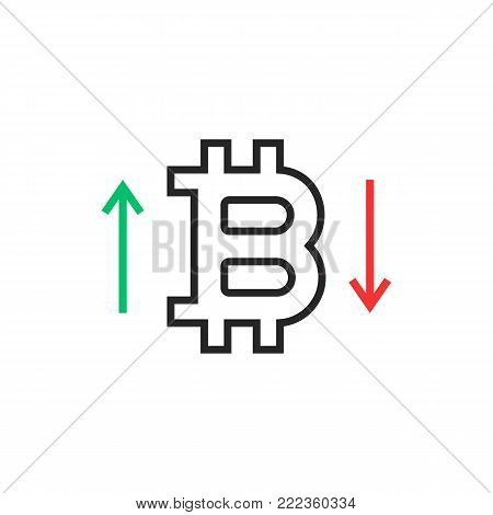 thin line rising up and falling down bitcoin rates. linear flat trend modern logotype or simple art design isolated on white. concept of privacy purchase of cryptocurrency or paying online service