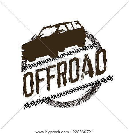 Off-road logo. Extreme competition emblem. Off-roading suv adventure and car club elements. Beautiful vector illustration with unique textured lettering isolated on a white background.