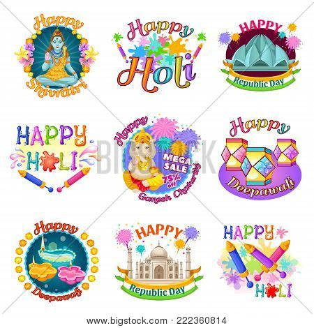 Colorful traditional Indian Holidays labels set with inscriptions Gods fireworks sights flowers diya lanterns isolated vector illustration