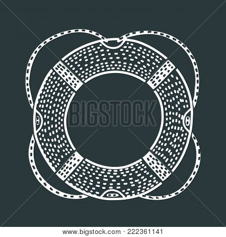 Vector cartoon funny outline illustration of lifeline. Save life ring in black and white color in modern style. For prints, cards, banners