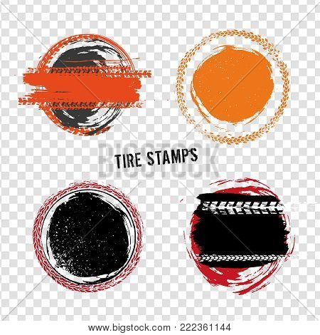 Grunge off-road post and quality stamps. Automotive elements useful for banner, sign, logo, icon, label and badge design . Tire tracks textured vector illustration isolated on transparent background.