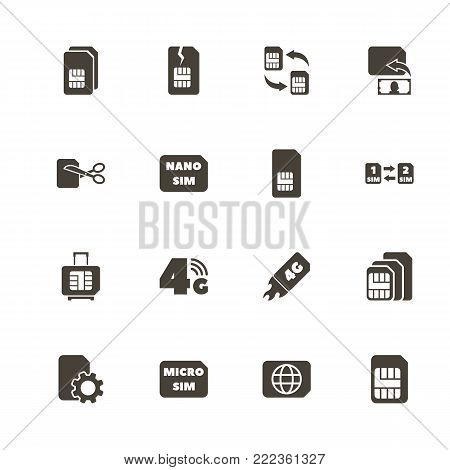 Sim Cards icons. Perfect black pictogram on white background. Flat simple vector icon.