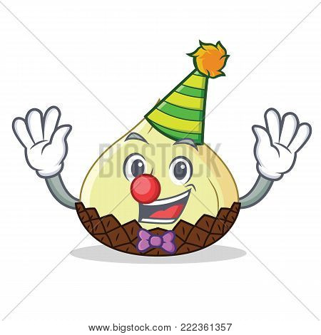 Clown snake fruit mascot cartoon vector illustration