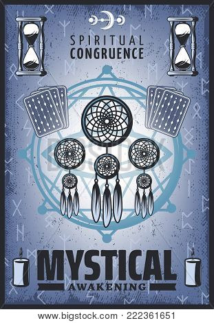 Vintage colored mystic poster with spiritual jewelry tarot cards sandglass runic letters candles and pentagram vector illustration