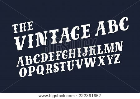 Vector funny ABC retro slanted slab capital latin abc on black background. For prints, cads, lettering, banners.