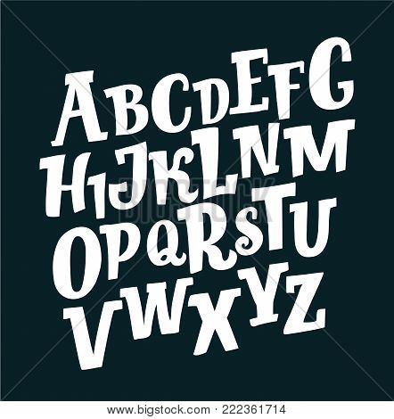 Vector cartoon hand drawn letters of retro slanted Alphabet on black background. Slab funny ABC. For prints, cads, lettering, banners posters.