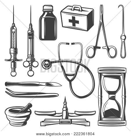 Vintage medical icons collection with syringes doctor bag stethoscope hourglass mortar bottle scales surgical instruments isolated vector illustration