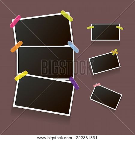 Set of vintage photo frame with shadow isolated on brown background. Vector Photo realistic Mockups with empty space for photo. old photo collection