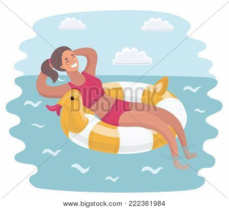 Vector cartoon illustration of young happy woman relax on sea. Girl in bikini floating on inflatable ring on the water surface.