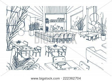 Restaurant or bistro interior with modern furnishings hand drawn with contours on white background. Freehand drawing of cafe or bar furnished in elegant loft style. Monochrome vector illustration