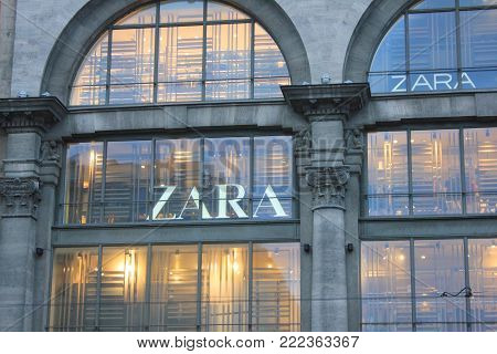 ST. PETERSBURG, RUSSIA - JANUARY 9, 2018: Zara Home Clothing Store Flagship Building in Saint-Petersburg Downtown. Zara is Clothing and Accessories Fashion Shop, World's Largest Apparel Retailer.