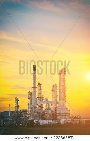 Oil refinery industry, Power plant for Industrial Estate at twilight