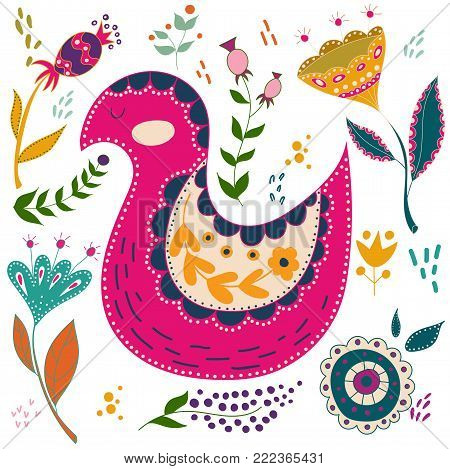 Art vector colorful illustration with beautiful cat, butterflies, birds and flowers. Art poster for decoration your interior and for use in your unique design. Scandinavian style. Folk art.