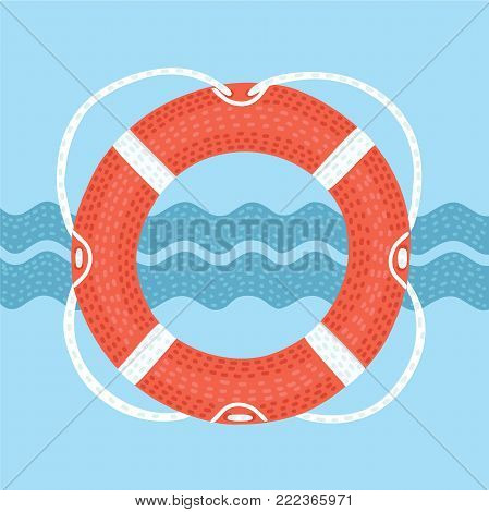 Vector cartoon illuatration of Lifebuoy with rope with shapes of waves.