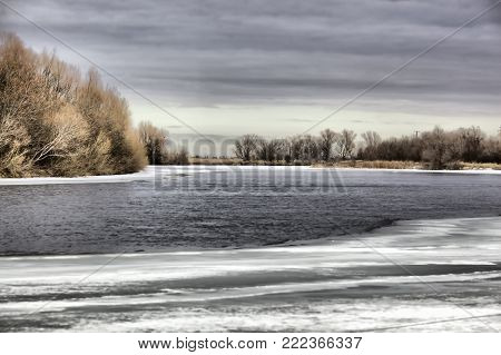 Beautiful winter river landscape. Delta of the Volga, Astrakhan region, Wild nature of Russia. Hdr effekt.