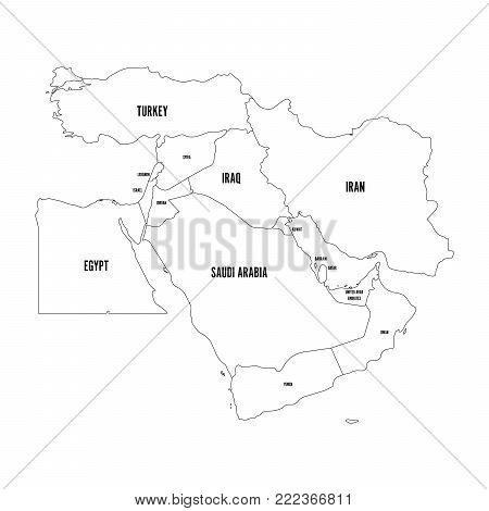 Political map of Middle East, or Near East. Simple flat outline vector ilustration.