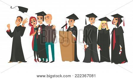 Set of college graduates, boys and girl in graduation cap and gown, holding diplomas, standing with parents, speaking from tribune, flat vector illustration isolated on white background