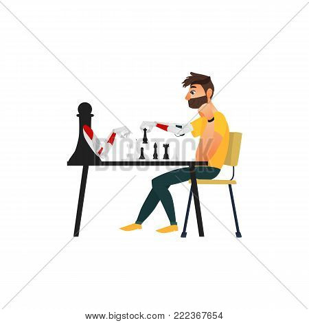 Man playing chess with a robot, side view flat cartoon vector illustration isolated on white background. Man and robot assistant playing chess, artificial intelligence concept