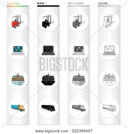Loader, laptop, shipping by sea, truck. Logistics and delivery set collection icons in cartoon black monochrome outline style vector symbol stock illustration isometric .