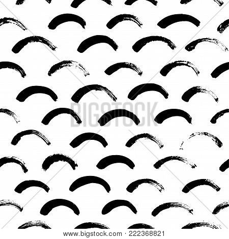 Monochrome minimalistic tribal seamless pattern with semicircles. Inspired by signs of primitive aboriginal culture. Vector background with isolated inky black art on white backdrop for nursery