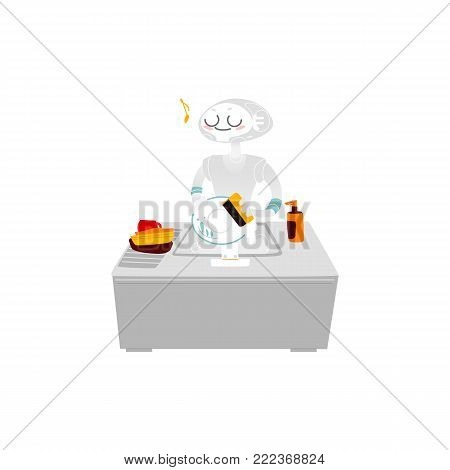 Robot washing dishes in the kitchen, home assistant, artificial intelligence concept, flat cartoon vector illustration isolated on white background. Funny robot assistant doing chore, washing dishes