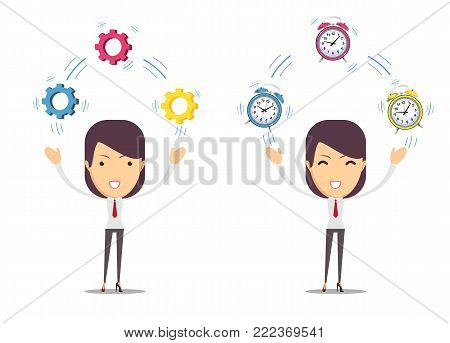 Time management, control. Vector illustration flat design. Isolated on background. Organization of process.