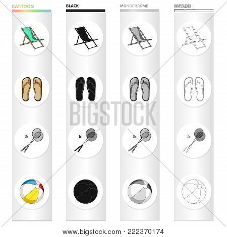 Summer rest cartoon black monochrome outline icons in set collection for design. Beach accessory vector symbol stock illustration.