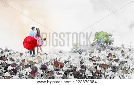 Painting watercolor landscape,lovers, daisy flowers in garden and blue sky cloud,with Men, women stand Holding a red umbrella and bouquet of flowers. Hand painted illustration beauty spring season.