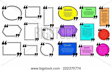 Quote text frames VECTOR set, colored and outline quote boxes isolated on white background elements.
