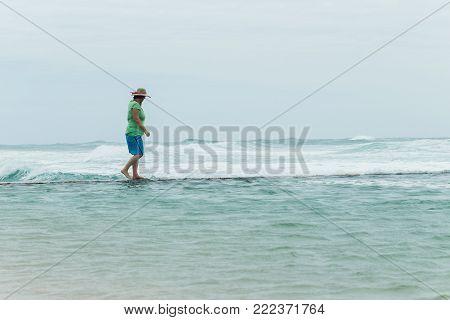 Man Tidal Pool Wall Watching Ocean