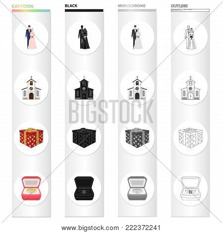 Wedding and Attributes cartoon black monochrome outline icons in set collection for design.Newlyweds and Accessories vector symbol stock illustration.