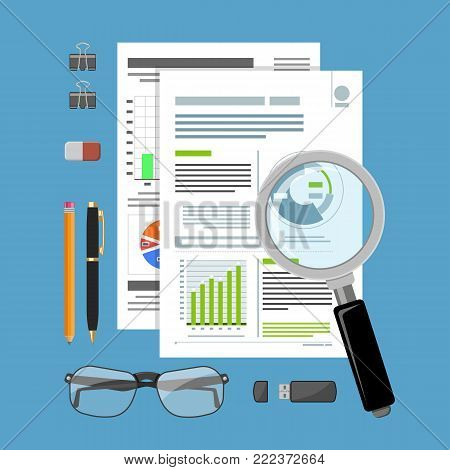 Auditing, Tax process calculation, accounting Concept. Checks financial report. Charts on Documents. Flat style icons. Isolated vector illustration