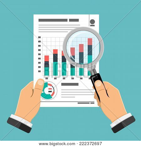 Auditing, Tax Process, Accounting Concept. Auditor Holds Glass in Hand and Checks Financial Report with Charts. Flat Style Icons Project Management, Analysis, Data. Isolated Vector Illustration.