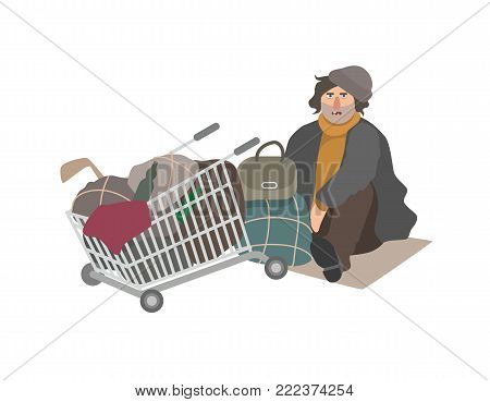 Angry homeless man dressed in shabby clothes sitting on cardboard sheet on street beside shopping cart full of old junk and trash. Cartoon character isolated on white background. Vector illustration
