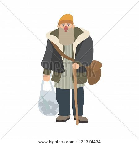 Old homeless man with beard and cane standing and holding plastic bag. Elderly bum, vagabond or hobo dressed in shabby clothes. Cartoon character isolated on white background. Vector illustration
