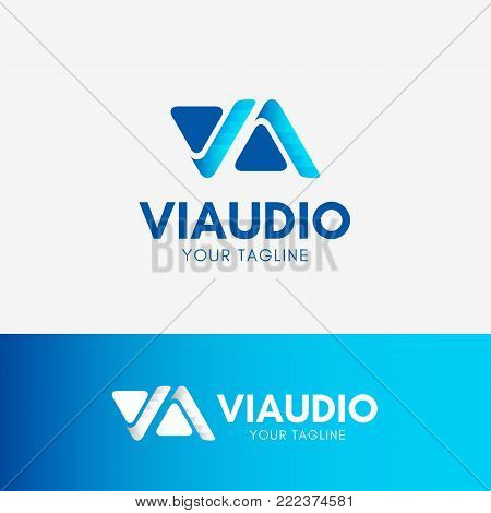 Video Audio Logo with letter V and A Play symbol template element in blue color
