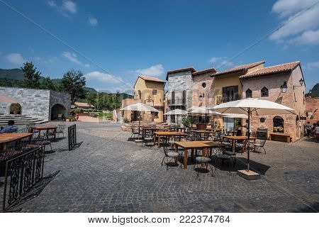Korat , Thailand : 24 October 2015 : Primo Piazza , The Italian Style Small Town At Korat Province I