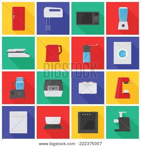 Collection of icons or pictograms with kitchen appliances, equipment, manual and electric tools for food processing, preparation or cooking. Bright colored vector illustration in flat style