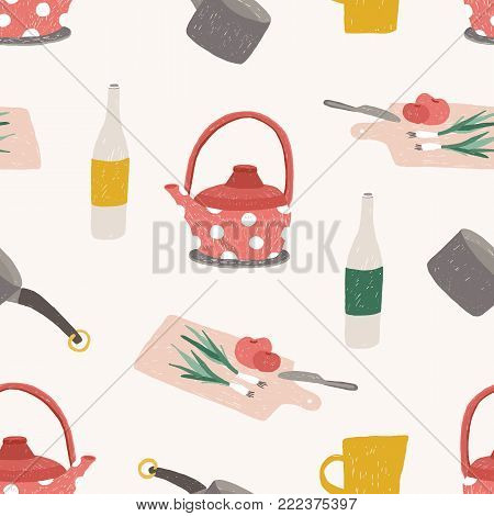 Seamless pattern with colorful kitchen utensils, cookware, tools for food processing, meals preparation or home cooking on white background. Vector illustration for wallpaper, textile print, backdrop