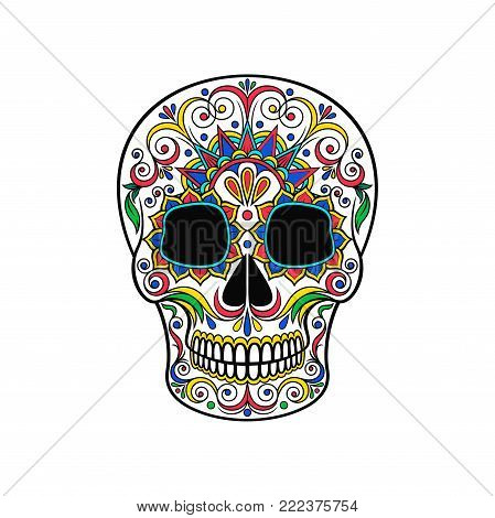 Day of The Dead Skull, sugar skull with floral ornament vector Illustration on a white background