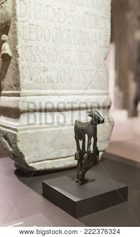 Madrid, Spain - November 10, 2017: Altar and votive figurine to goddess Ataecina at National Archeological  Museum of Madrid