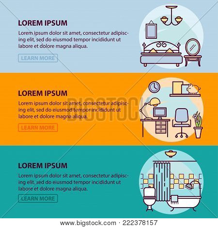 Design of web banner template with outline icons of interior design and art, home apartment decorating work. Vector illustration template for infographic or website for your design