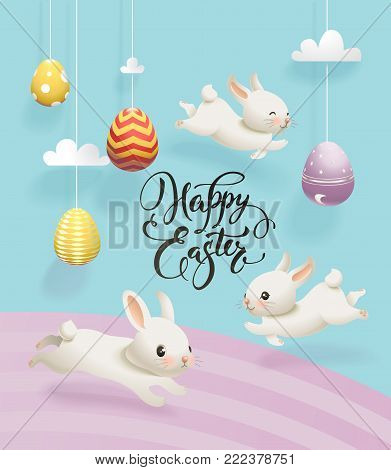 Colorful decorative eggs hanging on strings, clouds, cute white rabbits and Happy Easter hand written inscription. Vector illustration for greeting card, holiday banner, poster, party invitation.