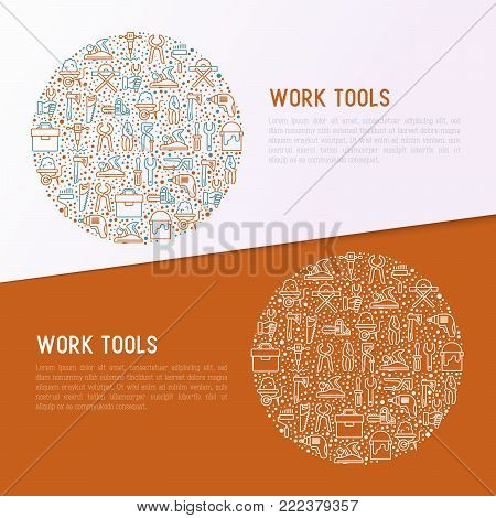 Work tools concept in circle with thin line icons: puncher, drill, wrench, plane, toolbox, wheelbarrow, saw, pliers, sawing machine. Modern vector illustration of building equipment for web page.