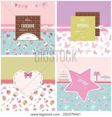 Cute templates set for girls. Can be used for scrapbook design, cookbook, diary, photo album cover. Seamless pattern included.