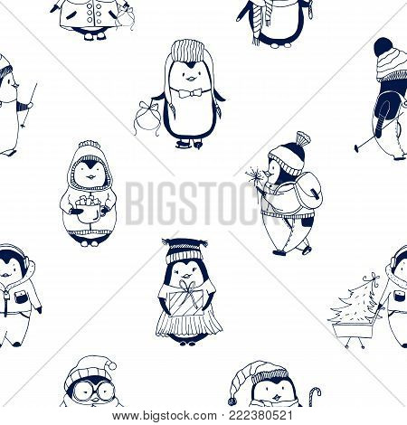 Childish seamless pattern with cute little baby penguins dressed in winter outerwear. Backdrop with funny cartoon polar birds hand drawn with contour lines on white background. Vector illustration
