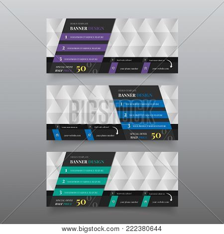 Diagonal banner for web page. Web banner design template with text. Material design banner creator for hero website. Editable infographic design templates. Website header design templates.