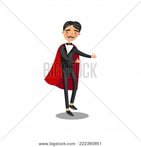 Male magician character in black suit and red cape performing his trick cartoon vector Illustration on a white background