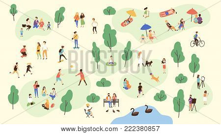 Various people at park performing leisure outdoor activities - playing with ball, walking dog, doing yoga and sports exercise, painting, eating lunch, sunbathing. Cartoon colorful vector illustration