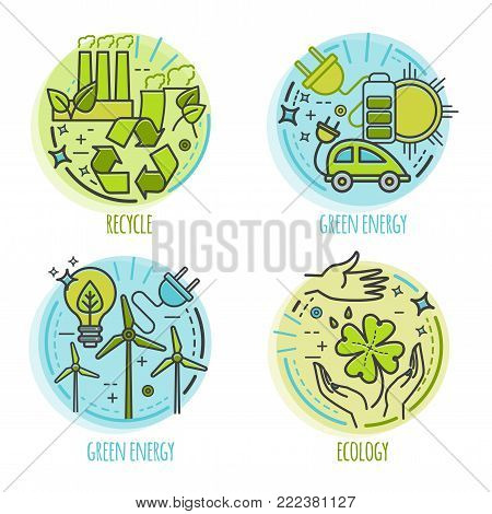 Ecology, green technology, organic, bio design concept. Vector cartoon thin line illustration for infographic or web app for your design